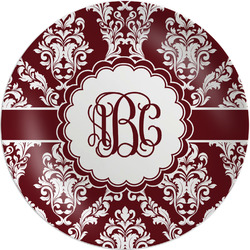 """Maroon & White Melamine Plate - 8"""" (Personalized)"""