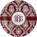Maroon & White Melamine Plate (Personalized)