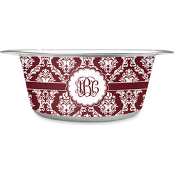 Maroon & White Stainless Steel Dog Bowl (Personalized)