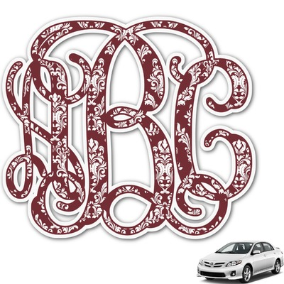 Maroon & White Monogram Car Decal (Personalized)