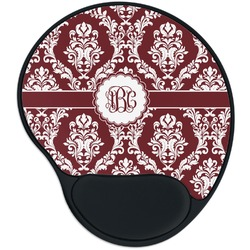Maroon & White Mouse Pad with Wrist Support
