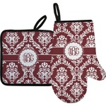 Maroon & White Oven Mitt & Pot Holder (Personalized)