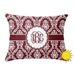 Maroon & White Outdoor Throw Pillow (Rectangular) (Personalized)