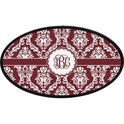 Maroon & White Oval Trailer Hitch Cover (Personalized)