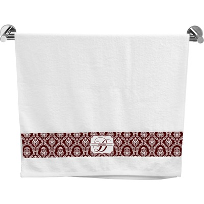 Maroon & White Bath Towel (Personalized)