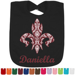 Maroon & White Baby Bib - 14 Bib Colors (Personalized)