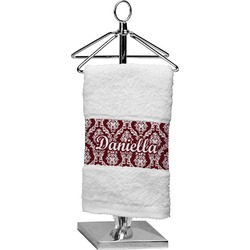 Maroon & White Finger Tip Towel (Personalized)