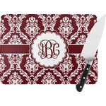 Maroon & White Rectangular Glass Cutting Board (Personalized)