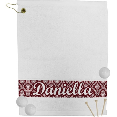 Maroon & White Golf Bag Towel (Personalized)