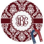Maroon & White Round Fridge Magnet (Personalized)
