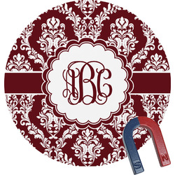 Maroon & White Round Magnet (Personalized)
