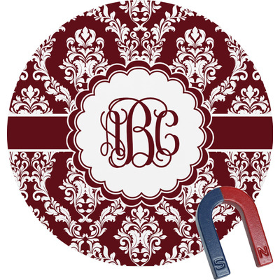 Maroon & White Round Fridge Magnet (Personalized)