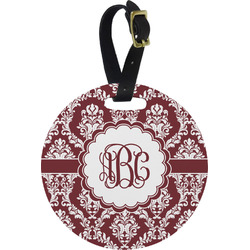 Maroon & White Round Luggage Tag (Personalized)