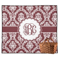 Maroon & White Outdoor Picnic Blanket (Personalized)