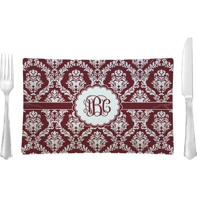 Maroon & White Rectangular Glass Lunch / Dinner Plate - Single or Set (Personalized)