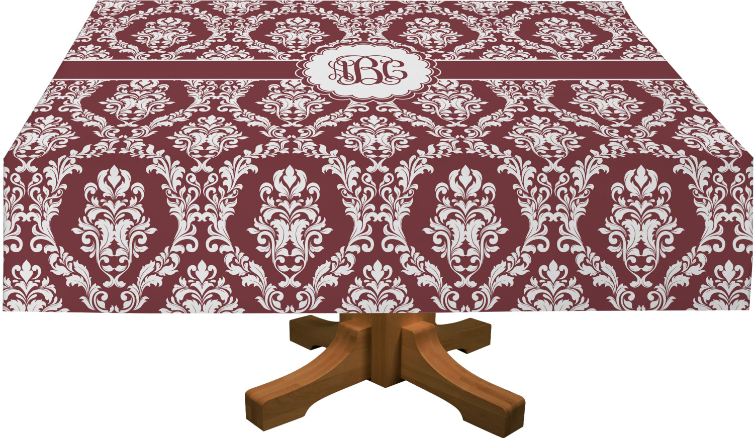 Maroon U0026 White Rectangle Tablecloth (Personalized)