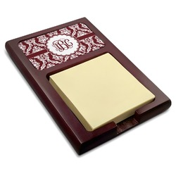 Maroon & White Red Mahogany Sticky Note Holder (Personalized)