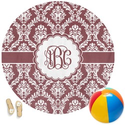 Maroon & White Round Beach Towel (Personalized)