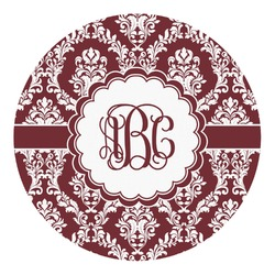 Maroon & White Round Decal - Custom Size (Personalized)