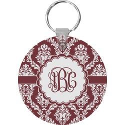 Maroon & White Round Keychain (Personalized)