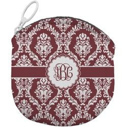 Maroon & White Round Coin Purse (Personalized)