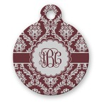 Maroon & White Round Pet Tag (Personalized)