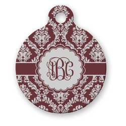Maroon & White Round Pet ID Tag (Personalized)