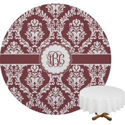 Maroon & White Round Tablecloth (Personalized)