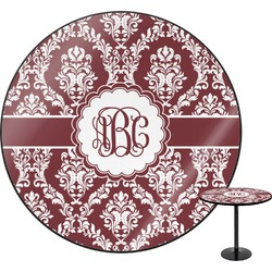 "Maroon & White Round Table - 30"" (Personalized)"