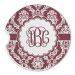 Maroon & White Sandstone Car Coasters (Personalized)