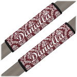 Maroon & White Seat Belt Covers (Set of 2) (Personalized)