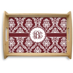 Maroon & White Natural Wooden Tray (Personalized)
