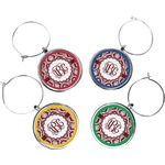 Maroon & White Wine Charms (Set of 4) (Personalized)
