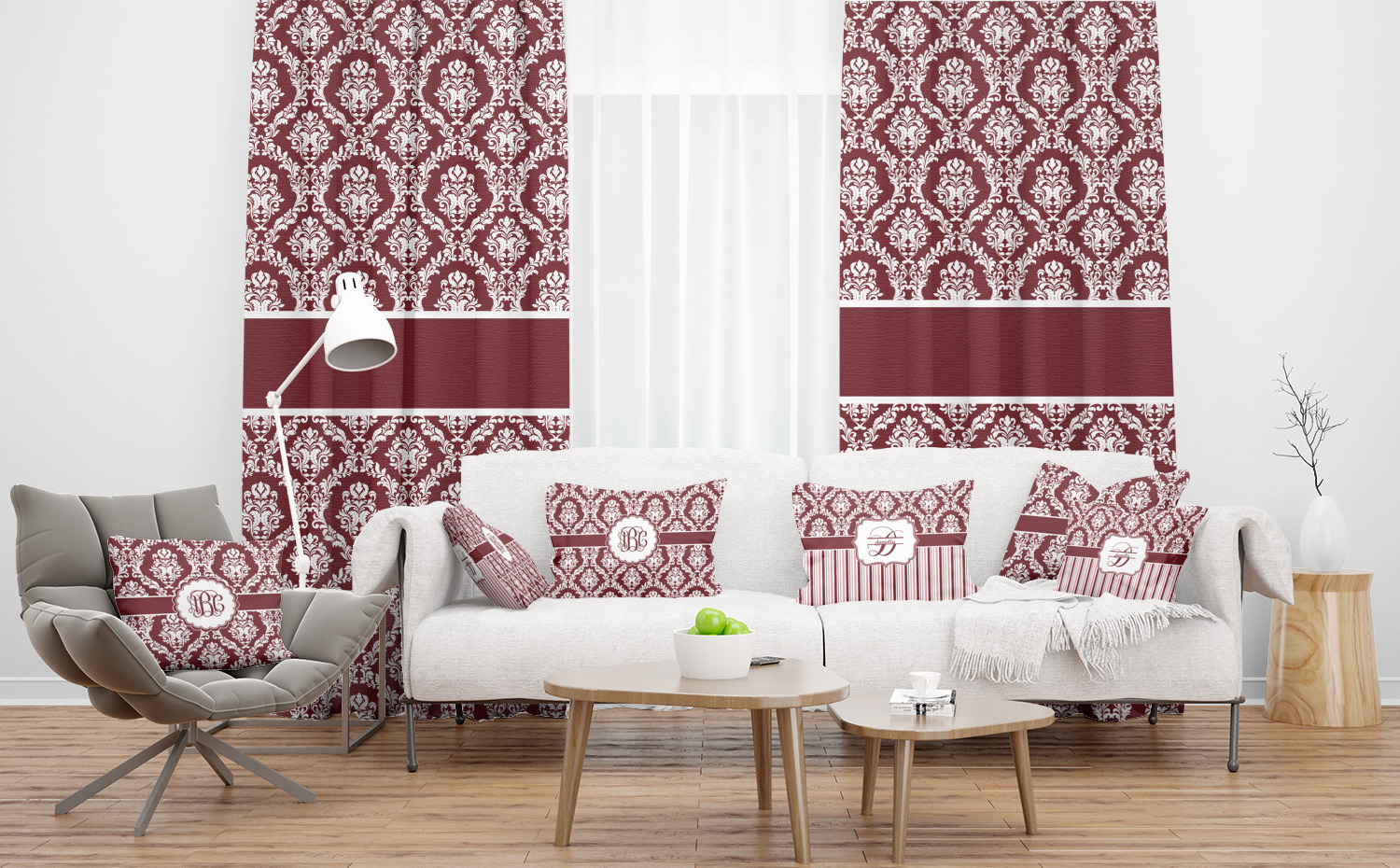 Maroon White Sheer Curtains Personalized