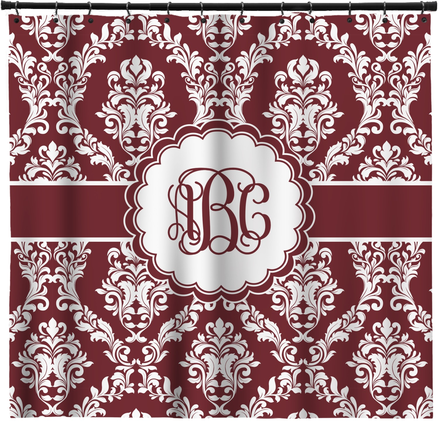 Maroon White Shower Curtain Personalized