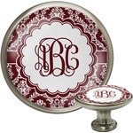 Maroon & White Cabinet Knob (Silver) (Personalized)