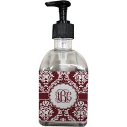Maroon & White Soap/Lotion Dispenser (Glass) (Personalized)