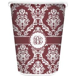 Maroon & White Waste Basket - Double Sided (White) (Personalized)
