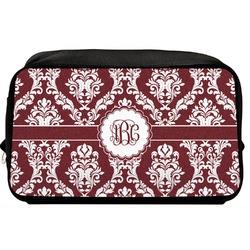 Maroon & White Toiletry Bag / Dopp Kit (Personalized)
