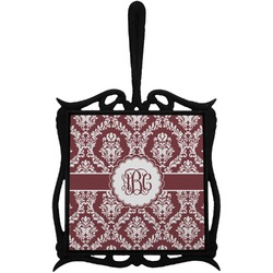 Maroon & White Trivet with Handle (Personalized)
