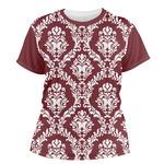 Maroon & White Women's Crew T-Shirt (Personalized)