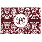 Maroon & White Woven Mat (Personalized)