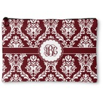 Maroon & White Zipper Pouch (Personalized)