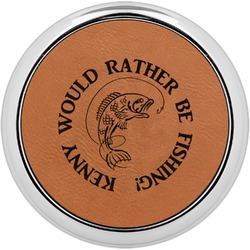 Fish Leatherette Round Coaster w/ Silver Edge - Single or Set (Personalized)