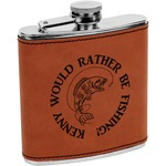 Fish Leatherette Wrapped Stainless Steel Flask (Personalized)