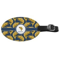Fish Genuine Leather Oval Luggage Tag (Personalized)