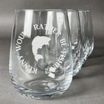 Fish Stemless Wine Glasses (Set of 4) (Personalized)