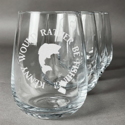 Fish Wine Glasses (Stemless Set of 4) (Personalized)