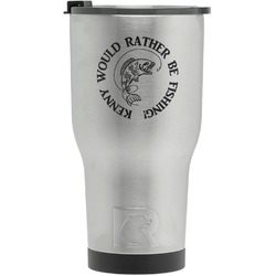 Fish RTIC Tumbler - Silver - Engraved Front (Personalized)
