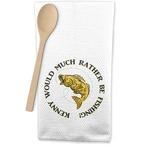 Fish Waffle Weave Kitchen Towel (Personalized)